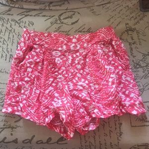Pink and White Patterned Flowy Shorts